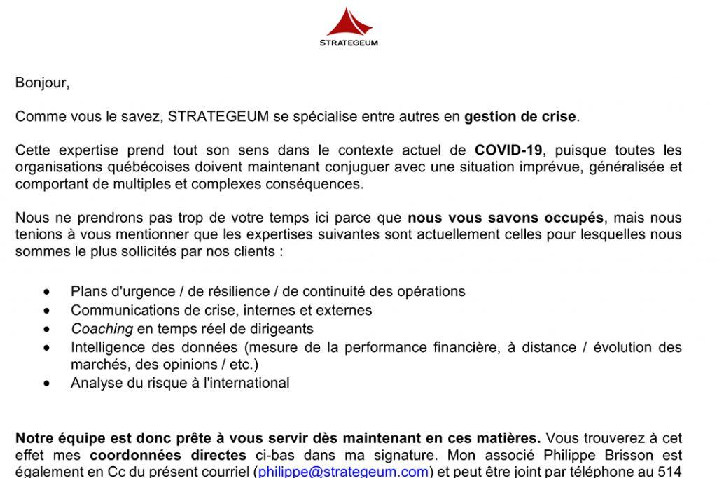 COVID-19 courriel 31 mars coffre crise reprise