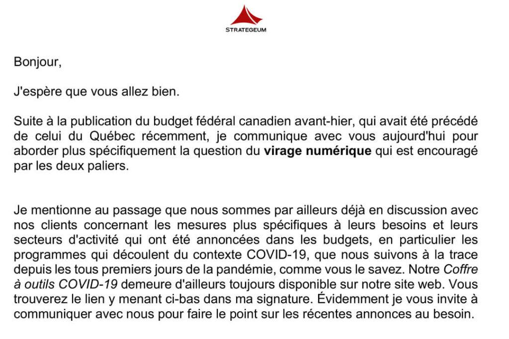 COVID-19 Courriel 20 avril 2021 Budgets gouvernementaux et expertise dans l'accompagnement de virages numériques