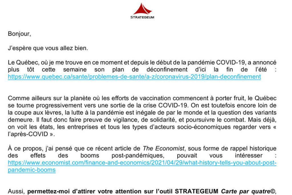 COVID-19 courriel 20 mai 2021 Ce que l'histoire nous raconte des booms post-pandémiques