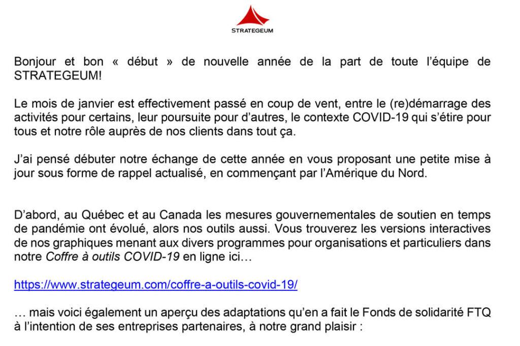 COVID-19 Courriel 03 février 2021 Québec, Canada, États-Unis